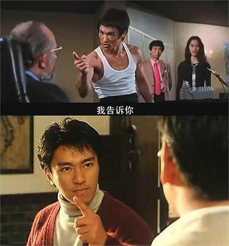 Hành động Lý Tiểu Long vừa nói vừa chỉ ngón tay về phía đối phương trở thành chi tiết hài trong phim Châu Tinh Trì.