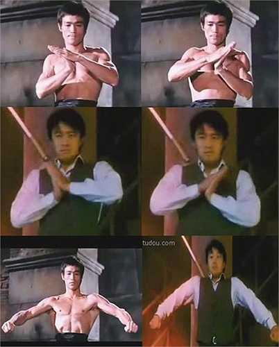 Trong phim Vua cờ bạc Thượng Hải, Châu Tinh Trì bắt chước động tác khởi động làm nóng người của Lý Tiểu Long trong phim Mãnh long quá giang.  (Nguồn: Zing)