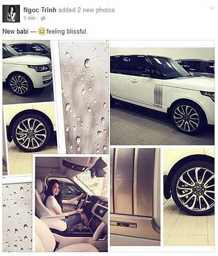 Sau chuyến công tác tới Hàn Quốc để quay quảng cáo với hợp đồng có cát-xê trị giá lên tới 1 tỷ chỉ trong 2 ngày, Ngọc Trinh lại tiếp tục gây sốc khi khoe siêu xe mới tậu trên trang cá nhân.