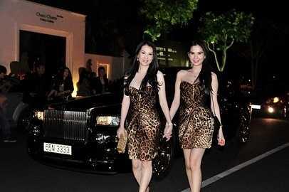 Ngọc Trinh tới dự tiệc trên chiếc xe siêu sang Roll Royce Phantom trong bộ đầm họa tiết da báo nổi bật.