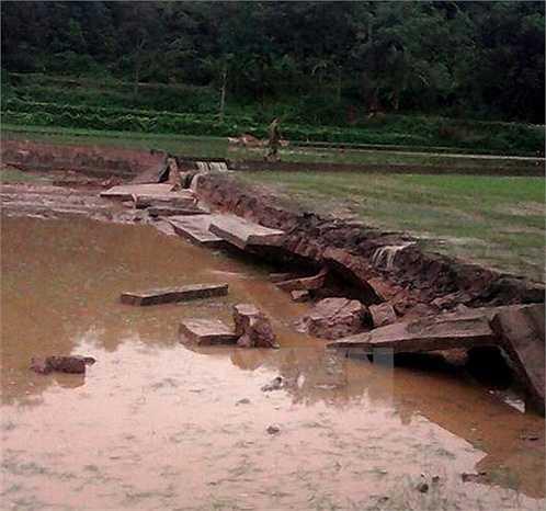 Nhiều kênh mương tại Bắc Kạn bị vỡ do mưa lũ (Ảnh: Đức Hiếu)