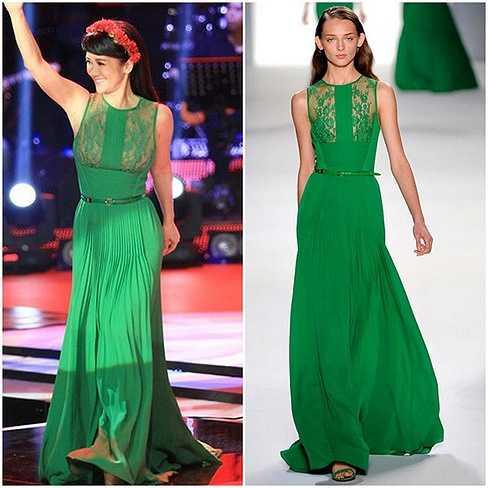 Chiếc váy của nữ ca sĩ Hồng Nhung  nằm trong  BST xuân hè 2012 của Ellie Saab, có giá 147 triệu đồng.