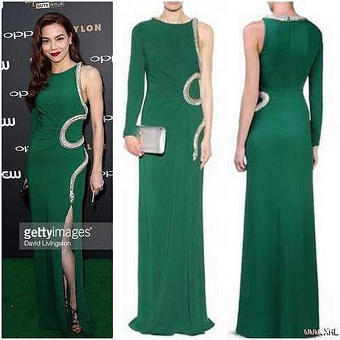 Thời gian gần đây, Hồ Ngọc Hà rất chuộng những món hàng hiệu xa xỉ. Chiếc váy đắt tiền mà cô mới tậu gần đây là bộ đầm Roberto Cavali có giá 88,5 triệu đồng với sắc xanh lục bảo sang trọng.