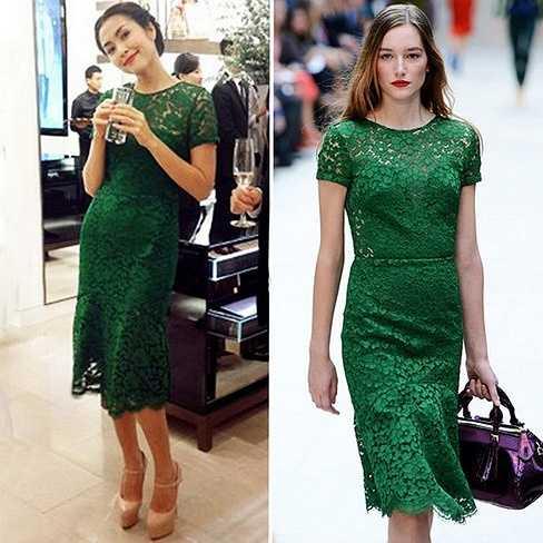 Một trong những bộ váy hàng hiệu hiếm hoi của Tăng Thanh Hà là bộ đầm ren Buberrry có giá 63 triệu đồng.