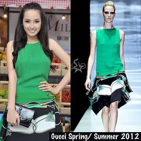 Váy xanh hoạ tiết của Mai Phương Thúynằm trong BST xuân hè 2012 của Gucci có giá khoảng 122 triệu. Nguồn: Dân Việt