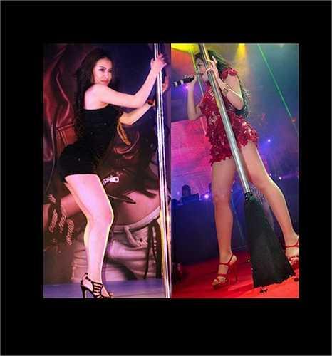 Nữ ca sỹ Hoàng Thùy Linh cũng nổi tiếng với những màn múa cột nóng bỏng trên sân khấu.