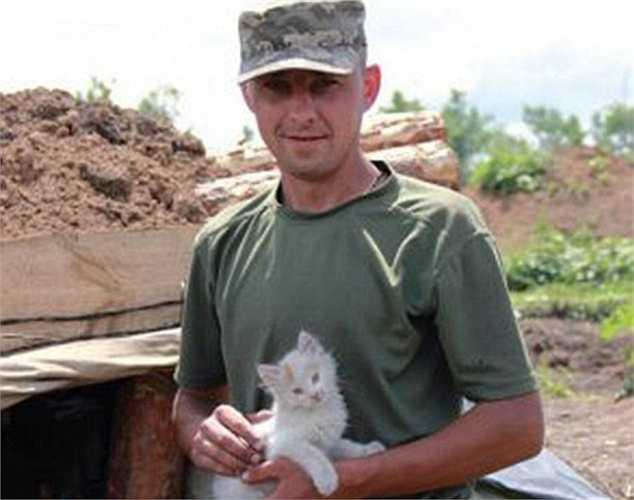 Binh sỹ Ukraine và chú mèo con ở chiến tuyến