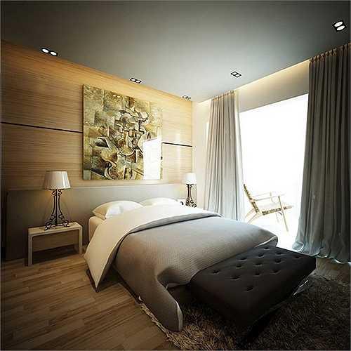 Một phòng ngủ thể hiện vẻ sang trọng tiện nghi.