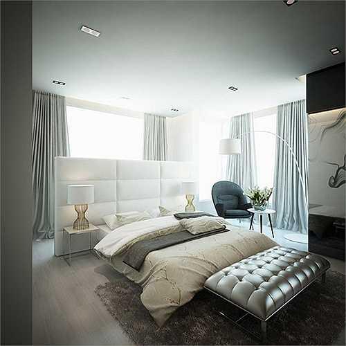 Một phòng ngủ khác trong nhà tạo cảm giác thư thái với cửa sổ rộng để đón nhiều ánh sáng.