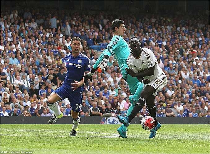 Phút 52 trận Chelsea - Swansea, tiền đạo Gomis băng xuống và bị thủ thành Courtois lao ra truy cản.