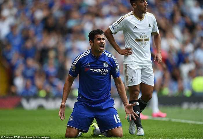 Diego Costa phản ứng khi trọng tài không thổi phạt đền ở tình huống anh bị ngã trong vòng cấm.