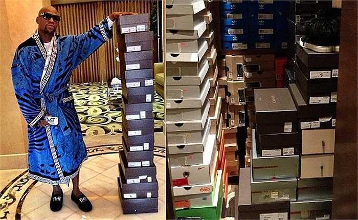 Quá nhiều tiền nên Mayweather nghĩ ra một trò tiêu khiển khá lạ lùng. Bỗng một đêm, anh tỉnh giấc lúc 1 giờ sáng và ngay lập tức ra cửa hàng giày mua 12 đôi đắt nhất ở đó dù nhà anh cũng đã có nguyên một phòng chỉ để chứa giày.