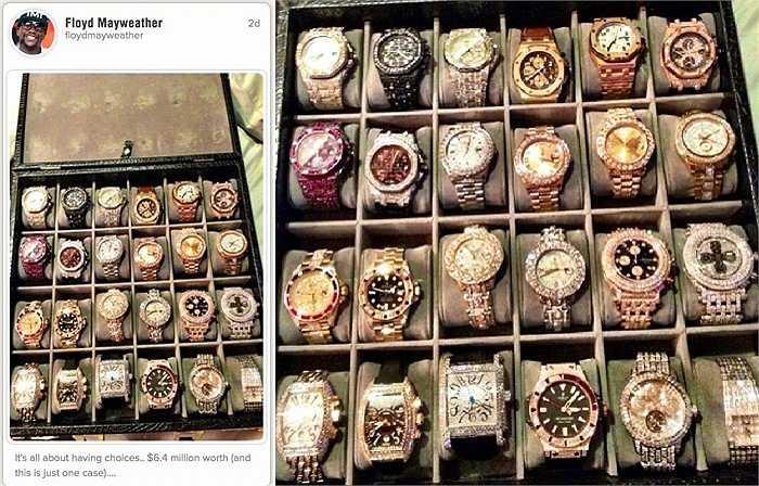 Mayweather từng tung clip quay những món đồ trang sức bạc tỷ của mình lên Instagram. Chỉ vài giờ sau đó, đoạn clip đã nhận được hơn 35 nghìn like.