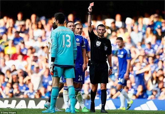 Bước ngoặt của trận đấu Chelsea 2-2 Swansea là chiếc thẻ đỏ mà trọng tài Michael Oliver phạt Thibaut Courtois. Nó khiến Chelsea mất người và bị gỡ hòa trên chấm penalty