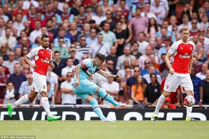 Còn ở bàn thua thứ 2 của Arsenal, Cech đã đứng không đúng vị trí nên không thể cản phá được cú sút của Zarate vào góc gần