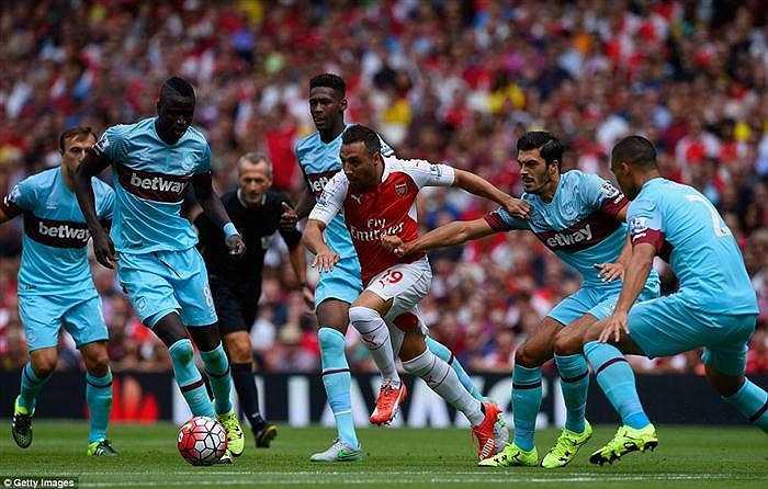 Các cầu thủ Arsenal tuy là những người chiếm lĩnh thế trận, nhưng họ không tài nào khoan thủng tầng tầng lớp lớp cầu thủ phòng ngự bên phía West Ham
