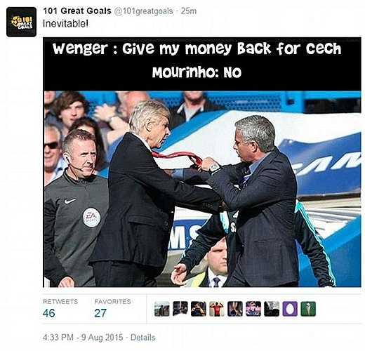 Wenger: Trả lại tiền mua Cech đây. Mourinho quyết tâm từ chối. Đây là hình ảnh biếm họa xuất hiện sau màn trình diễn thất vọng của Cech ở ngày ra quân.