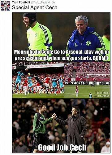 Fan ví Cech như điệp viên ngầm phá Arsenal mà Mourinho cài vào nội bộ Pháo thủ