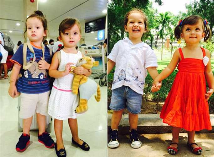 Hồng Nhung thường xuyên chia sẻ những hình ảnh đáng yêu của hai nhóc tì.