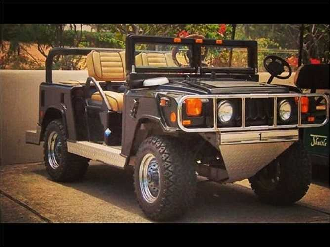 Họ còn sử dụng một chiếc Hummer đắt tiền làm xe đi trong sân golf.