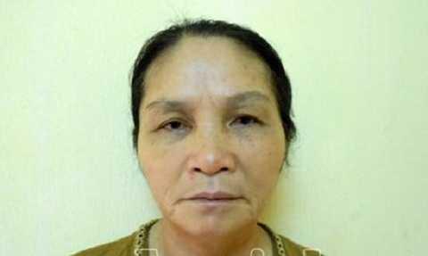 Nghi phạm Nguyễn Thị Bàn tại cơ quan điều tra