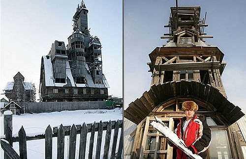 Ông Nikolai đang sống trong căn nhà gỗ đặc biệt 13 tầng này. và cao tới 43m. Nikolai cho biết, ông xây căn nhà này nhằm chứng tỏ vị trí của mình là người giàu nhất thành phố với những hàng xóm xung quanh.