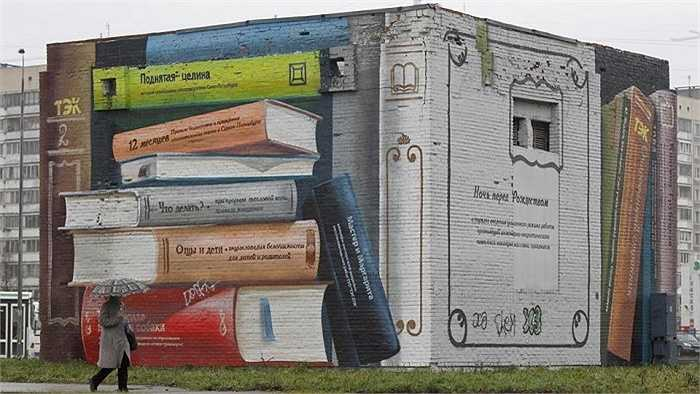 Bức tường sách ở Saint Petersburg, Nga