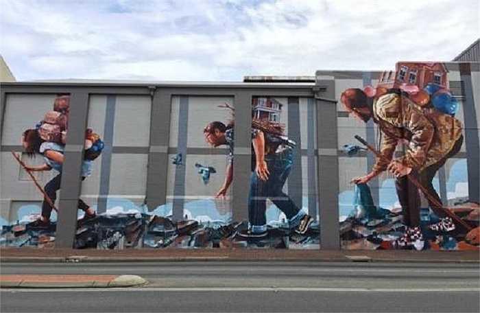 Bức tranh có tiêu đề 'The Migration' (Sự di cư) ở thành phố Perth, Australia