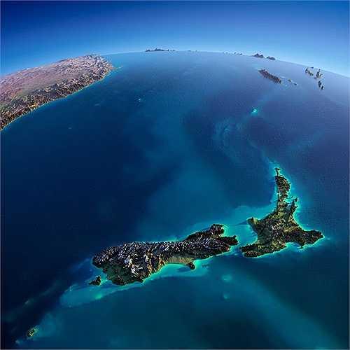Những hình ảnh chụp từ vệ tinh các khu vực trên trái đất đẹp ngỡ ngàng. Hình ảnh Newzeland với đảo Bắc và đảo Nam