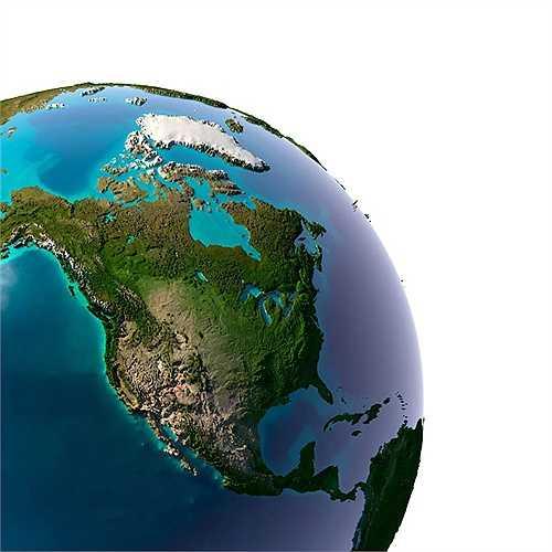 Khu vực Bắc Mỹ hiện lên với nhiều màu xanh