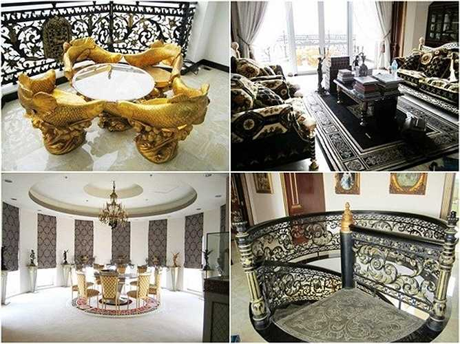 Toàn bộ nội thất, thiết kế bên trong đều cho thấy sự giàu có của gia chủ. Phòng ăn rộng và bài trí sang trọng, với đèn chùm và tượng điêu khắc.