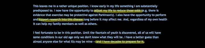 Cặp đôi quyền lực của làng công nghệ đã quyên góp hàng trăm triệu USD cho các tổ chức từ thiện, trong đó có ít nhất 160 triệu USD cho nghiên cứu về bệnh Parkinson. Nguyên nhân là vì cả mẹ và bác của Brin đều mắc chứng Parkinson và căn cứ vào một xét nghiệm của 23andMe, anh cũng có thể bị bệnh này.