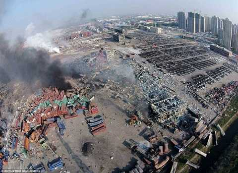 Hiện trường vụ nổ ở Thiên Tân