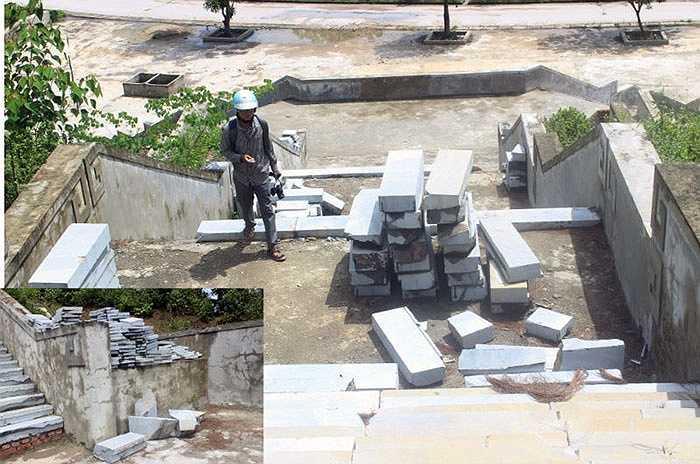 Cũng theo ông Nam, hiện giám đốc đơn vị thi công vừa mất, công trình tạm ngưng lại. Còn một điểm bị rạn nứt, đá lát sân gãy, vỡ thì không thể gọi xuống cấp. Bởi trước khi bàn giao, nhà thầu sẽ sửa chữa lại, lát gạch toàn bộ.