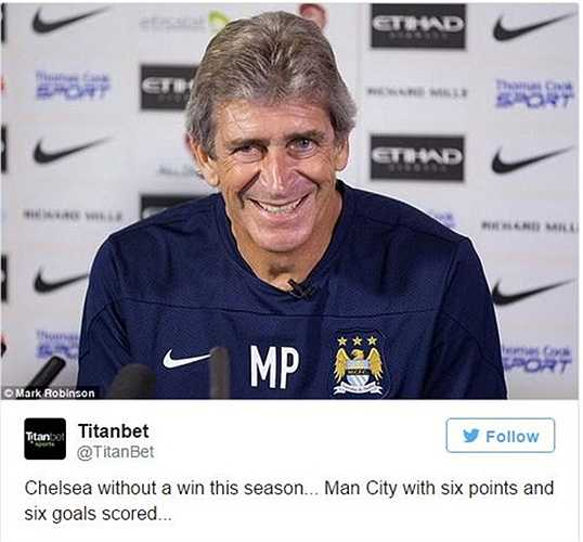 Chelsea chưa thắng nổi trận nào, trong khi Man City của Pellegrini có 6 điểm và 6 bàn sau 2 trận