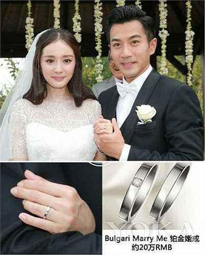Tháng 1.2014, Dương Mịch kết hôn và được ông xã Lưu Khải Uy tặng nhẫn cưới kim cương 5 carat từ thương hiệu Bvlgari Marry Me trị giá 5 triệu NDT (14 tỉ đồng).