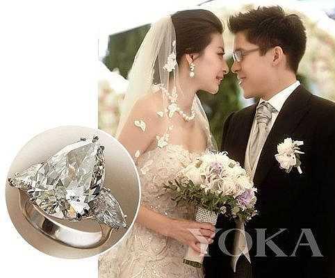 Nhà vô địch bộ môn nhảy cầu Quách Sương Sương với doanh nhân Hồng Kông Thôi Khải Cương có nhẫn cưới kim cương 3 carat trị giá 1,4 triệu HKD (gần 4 tỉ đồng).