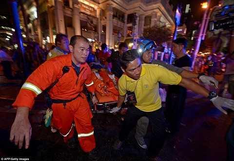 Hiện trường vụ đánh bom ở thủ đô Bangkok, Thái Lan