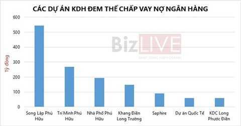 KDH thế chấp rất nhiều dự án để vay ngân hàng. Đồ họa: Vũ Minh