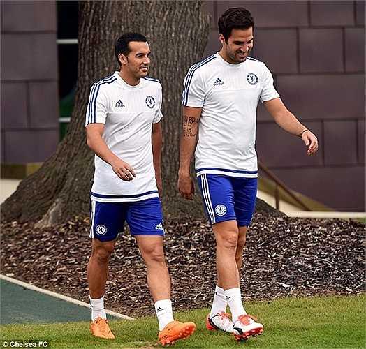 Trước đó, trong buổi sáng, Pedro đã có mặt tại sân tập Cobham cùng người đồng đội Fabregas