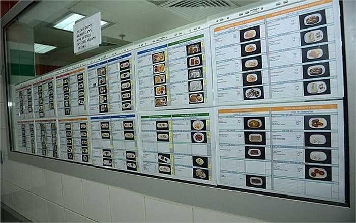 Các thực đơn được tính toán tuyệt đối chính xác từ trọng lượng từng thành phần trong món ăn, kể cả ở khoang phổ thông lẫn khoang hạng nhất.