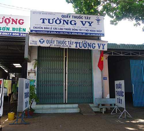 Quầy thuốc Tây Tường Vy đã đóng cửa sau khi chủ Phạm Thị Ngọc Chiến bị bắt - Ảnh: Nhất Nguyên