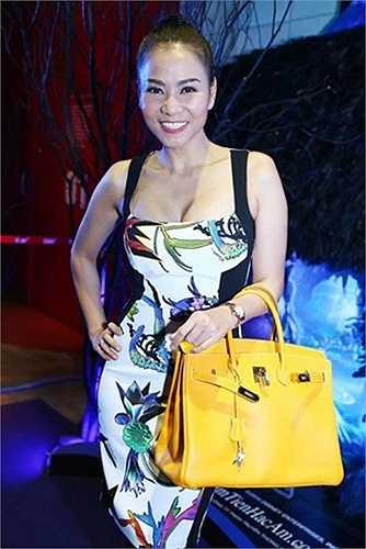 Ca sĩ Thu Minh còn có hẳn một bộ sưu tập túi Hermes nhiều màu có giá trị khủng. Chiếc túi vàng trong hình có giá khoảng 17.900 USD (hơn 380 triệu đồng).