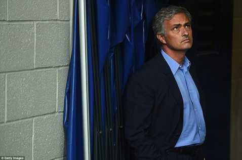 Mourinho đứng dựa lưng vào tường sân The Hawthons