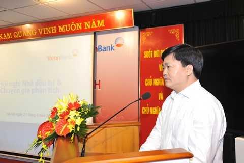 Tổng Giám đốc VietinBank Lê Đức Thọ chia sẻ thông tin tại Hội nghị