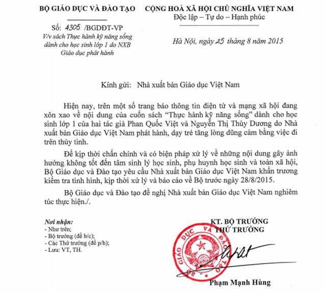 Bộ Giáo dục và Đào tạo yêu cầu NXB Giáo dục Việt Nam kiểm tra rõ nội dung cuốn sách