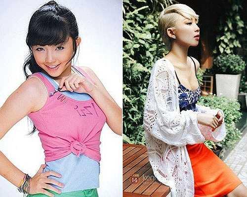Hình ảnh với hai phong cách trái ngược của Tóc Tiên: cô bé tóc xù hồn nhiên và cô nàng gợi cảm.