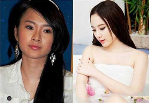 Angela Phương Trinh sở hữu gương mặt đường nét rõ ràng từ thời trẻ. Nhưng giờ đây, mũi của cô đỡ hếch, làn da trắng mịn và khuôn mặt sắc sảo hơn.