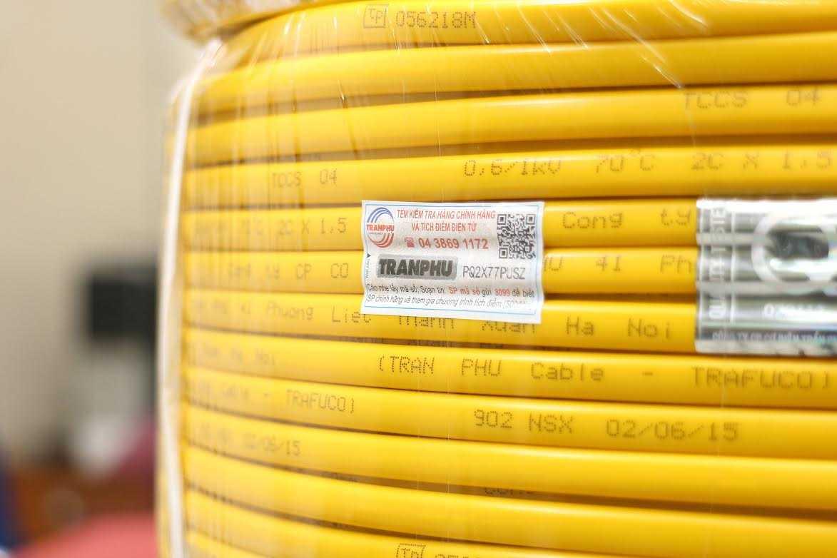 """Dây điện Trần Phú bị làm giả ngay sau khi đưa ra thị trường bộ nhãn bọc ngoài cuộn dây với logo mới và biểu trưng """"Vietnam Value"""