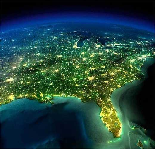 Hình ảnh bờ Đông nước Mỹ rợp ánh sáng lung linh về đêm